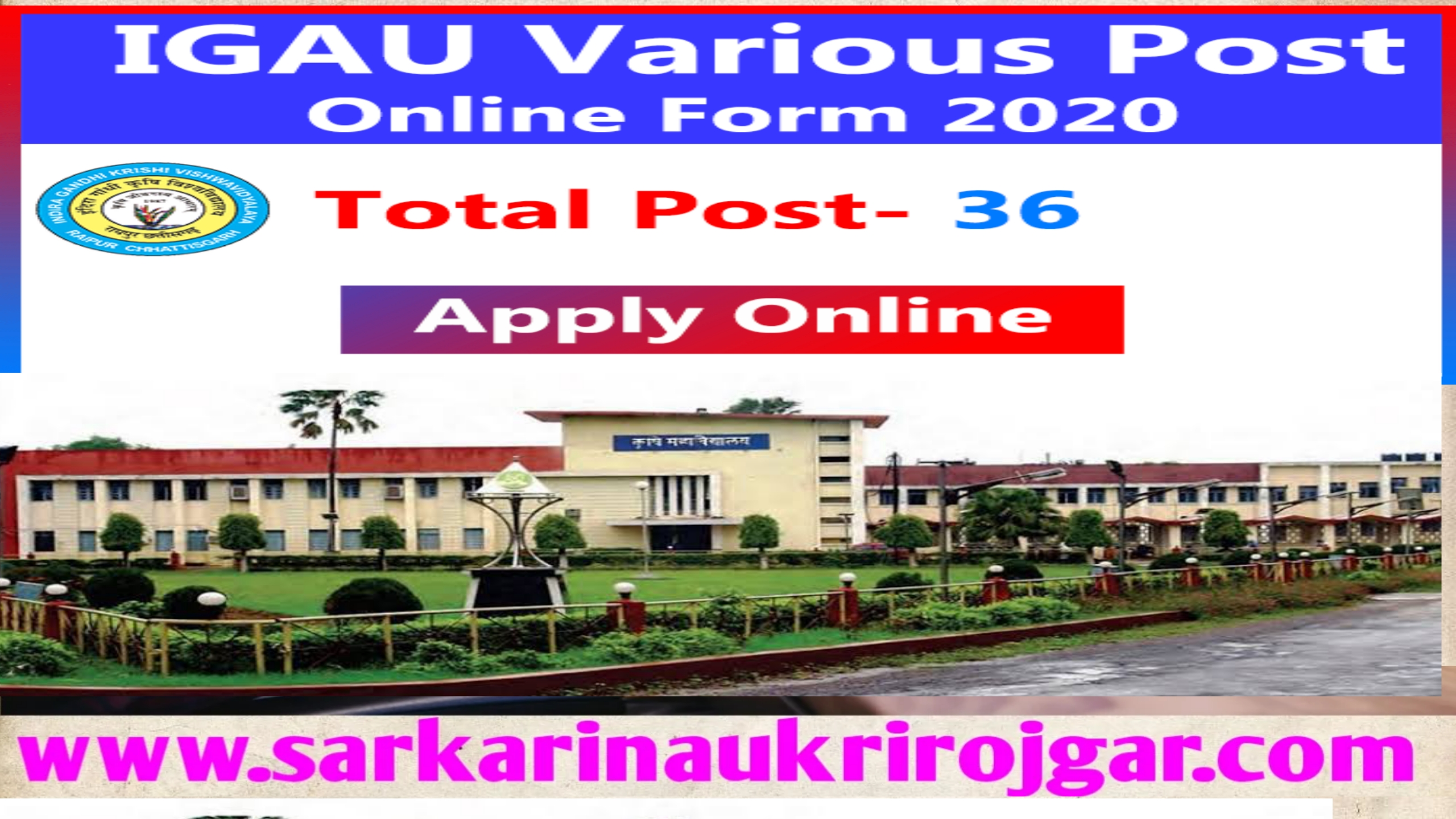 Indira Gandhi Agriculture University (IGAU) Recruitment 2020