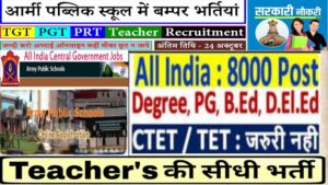 Read more about the article Army Public School PGT / PRT Online Form 2020
